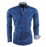 Enrico Polo Heren overhemd met trendy design slim fit stretch blauw
