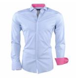 Dom Tower Heren overhemd met trendy design gestreept slim fit stretch wit