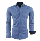 Dom Tower Heren overhemd gestippeld slim fit stretch blauw