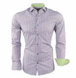 Dom Tower Heren overhemd met trendy design slim fit stretch wit