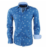 Dom Tower Heren overhemd turtle slim fit blauw