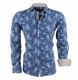Dom Tower Heren overhemd met trendy design slim fit blauw