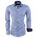 Caprisel Heren overhemd gestippeld slim fit stretch blauw