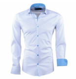 Caprisel Heren overhemd met trendy design slim fit stretch wit