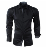 Bravo Jeans Heren overhemd met geruite kraag slim fit stretch zwart