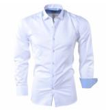 Bravo Jeans Heren overhemd met gestreepte kraag slim fit wit