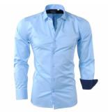Bravo Jeans Heren overhemd met gestreepte kraag slim fit stretch licht blauw turquoise