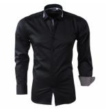 Bravo Jeans Heren overhemd met gestreepte kraag slim fit stretch zwart