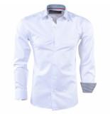 Bravo Jeans Heren overhemd met geblokte kraag slim fit wit
