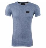 Bravo Jeans Lang heren tshirt ronde hals slim fit blauw