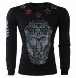 Bravo Jeans Heren trui ronde hals sweat slim fit stretch strass stenen skull zwart