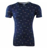 New Republic Heren tshirt met trendy design ronde hals blauw