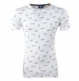 New Republic Heren tshirt met trendy design ronde hals wit
