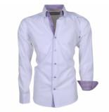 Brentford and Son Ongetailleerd heren overhemd met paarse 2knoops kraag model 10 wit