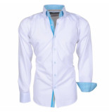 Brentford and Son Ongetailleerd heren overhemd met turquoise 2knoops kraag model 10 wit
