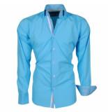 Brentford and Son Ongetailleerd heren overhemd met 2knoops kraag turquoise