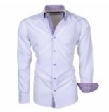 Brentford and Son Ongetailleerd heren overhemd met paarse 2knoops dubbele kraag wit