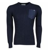 Crosshatch Trendy fijn gebreide heren trui met borstzak heysham navy blauw