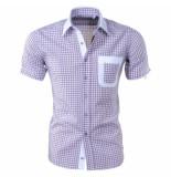 Louis Fabel Heren overhemd korte mouw a644 wit paars
