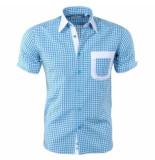 Louis Fabel Heren overhemd korte mouw a643 wit blauw