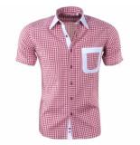 Louis Fabel Heren overhemd korte mouw a642 wit rood