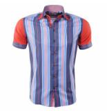 Louis Fabel Heren overhemd a614 rood grijs blauw