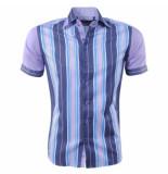 Louis Fabel Heren overhemd a615 paars wit blauw