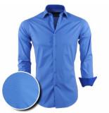 Chamberlain Heren overhemd bruin motief lange mouw blauw