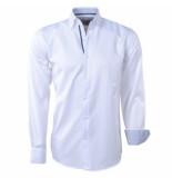 Brentford and Son Heren overhemd gestreepte kraag wit