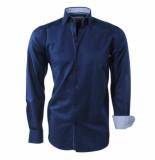 Brentford and Son Heren overhemd gestreepte kraag blauw