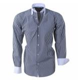 Brentford and Son Heren overhemd gestreept grijs