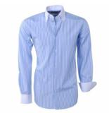 Brentford and Son Heren overhemd gestreept licht blauw