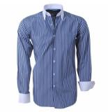 Brentford and Son Heren overhemd gestreept blauw