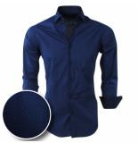 Chamberlain Heren overhemd met motief slimfit/stretch blauw