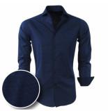Chamberlain Heren overhemd met trendy wit design slimfit/stretch blauw