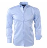 rVvaldi Heren overhemd gestreepte kraag licht blauw