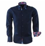 Gasparo Heren overhemd met gebloemd motief in de kraag blauw