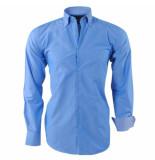Ambassador Ongetailleerd heren overhemd motief in de kraag borstzak blauw