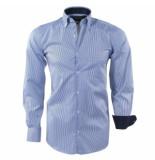 Ambassador Ongetailleerd heren overhemd gestreept borstzak blauw