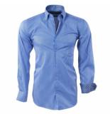 Ambassador Ongetailleerd heren overhemd stippel motief in de kraag gestreept borstzak blauw