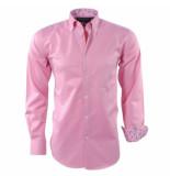 Ambassador Ongetailleerd heren overhemd met motief bloemen motief in de kraag borstzak roze