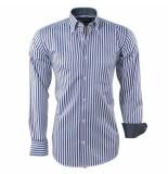 Ambassador Ongetailleerd heren overhemd stippel motief in de kraag gestreept borstzak zwart