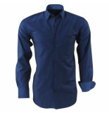 Ambassador Ongetailleerd heren overhemd stippel motief in de kraag borstzak blauw
