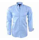 Ambassador Ongetailleerd heren overhemd trendy motief in de kraag licht blauw