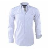 Ambassador Ongetailleerd heren overhemd geblokt trendy motief in de kraag wit