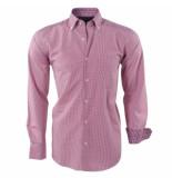 Ambassador Ongetailleerd heren overhemd geblokt paisley motief in de kraag bordeaux