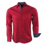 Gasparo Heren overhemd geblokte kraag slimfit rood