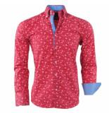 Gasparo Heren overhemd met bloemen design 2knoops kraag slimfit rood