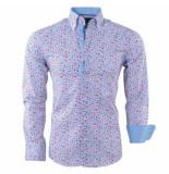 Gasparo Heren overhemd met bloemen design 2knoops kraag slimfit wit
