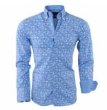 Gasparo Heren overhemd met bloemen design 2knoops kraag slimfit blauw